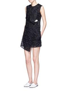 VICTORIA BECKHAMAsymmetric drape floral guipure lace dress
