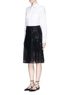 VICTORIA BECKHAMSequin appliqué panelled mesh skirt