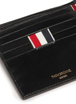 Grosgrain loop leather bifold wallet