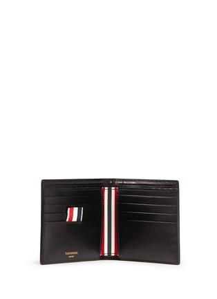 模特儿示范图 - 点击放大 - THOM BROWNE - 条纹罗缎装饰真皮钱包