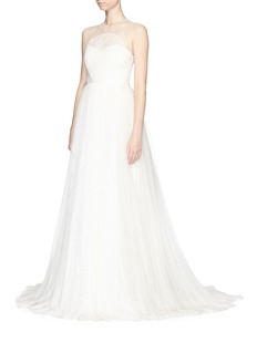 DELPOZO&nbsp;Made-to-Order<br/><br/>Lace bodice silk tulle bridal gown