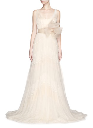 Main View - Click To Enlarge - DELPOZO - Made-to-Order<br/><br/>Sweetheart neck flower brooch silk tulle bridal gown