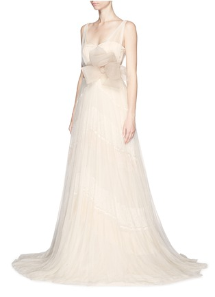 Figure View - Click To Enlarge - DELPOZO - Made-to-Order<br/><br/>Sweetheart neck flower brooch silk tulle bridal gown