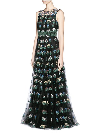Front View - Click To Enlarge - Valentino - 'Primavera' floral embroidery tulle gown