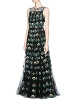 'Primavera' floral embroidery tulle gown