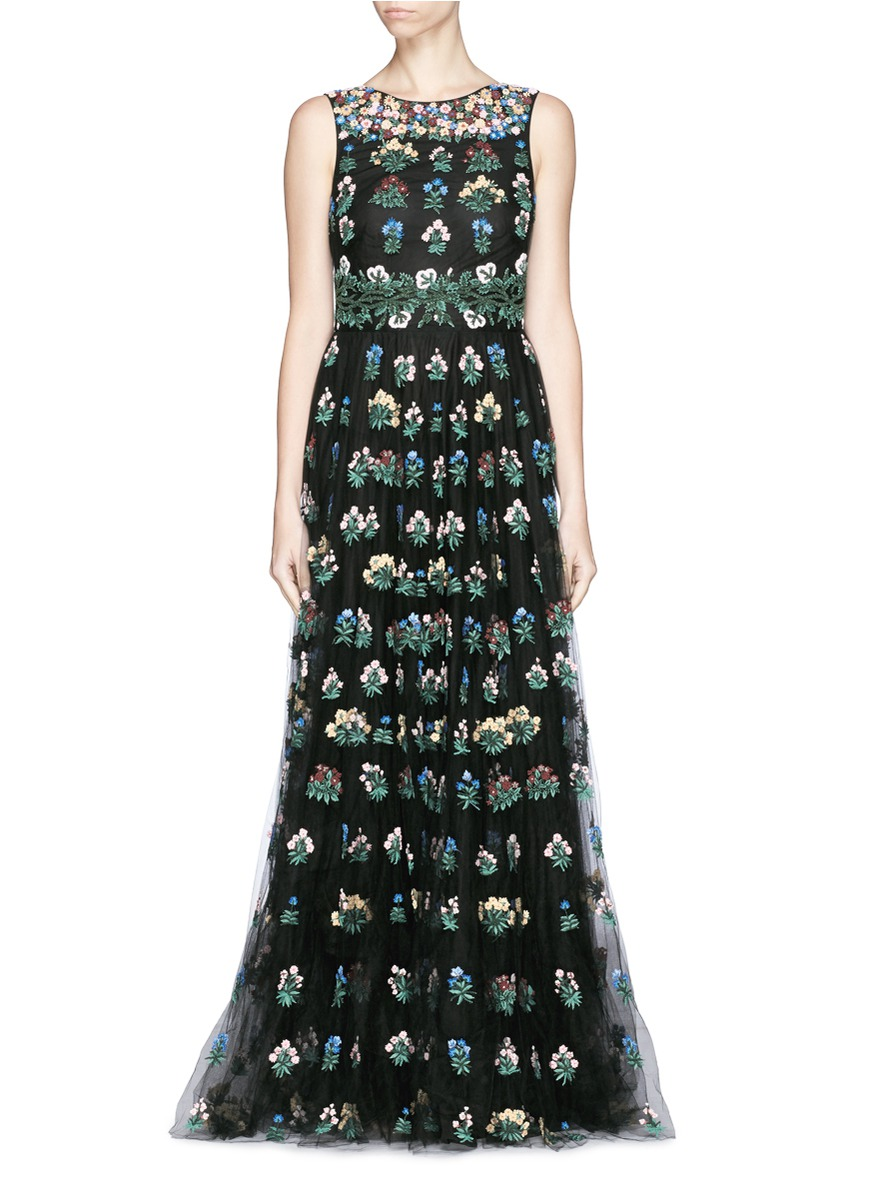 Valentino Primavera Floral Embroidery Tulle Gown