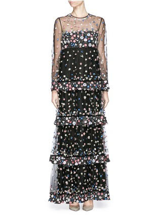 Main View - Click To Enlarge - Valentino - 'Primavera' floral embroidery tulle tier gown