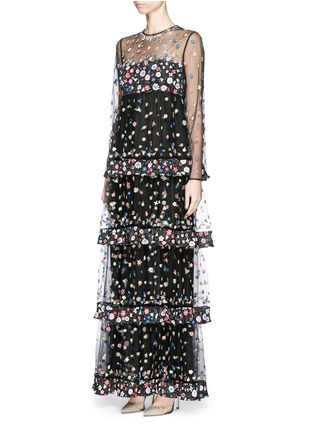 Figure View - Click To Enlarge - Valentino - 'Primavera' floral embroidery tulle tier gown