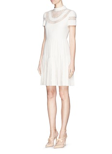VALENTINO Chantilly lace panel silk crepe pleat dress