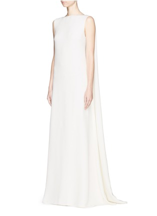 Figure View - Click To Enlarge - Valentino - Cape back silk cady gown