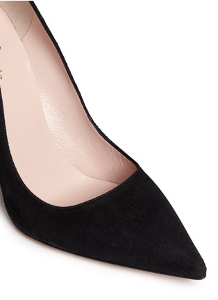 Detail View - Click To Enlarge - Kate Spade - 'Logan' cat flap suede pumps