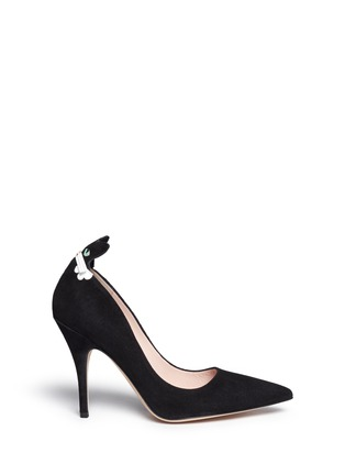 Main View - Click To Enlarge - Kate Spade - 'Logan' cat flap suede pumps