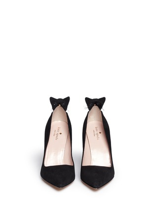 Figure View - Click To Enlarge - Kate Spade - 'Logan' cat flap suede pumps