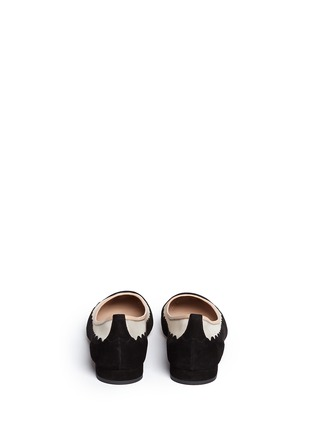 Back View - Click To Enlarge - Chloé - Mesh insert scalloped suede flats
