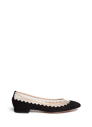 Main View - Click To Enlarge - Chloé - Mesh insert scalloped suede flats