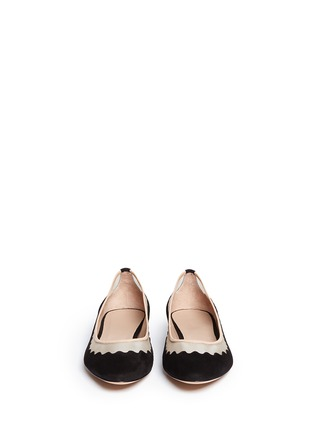 Figure View - Click To Enlarge - Chloé - Mesh insert scalloped suede flats
