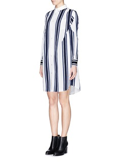 SACAI Grosgrain stripe cotton poplin shirt dress