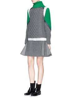 SACAIMix knit vest wool combo shirt dress