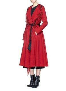 LANVINFringe drape front wool blend coat