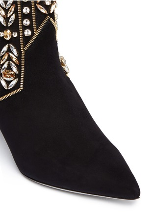 Detail View - Click To Enlarge - René Caovilla - Strass appliqué zip teeth suede ankle boots