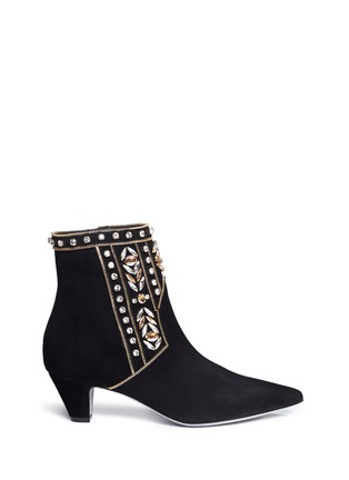 Main View - Click To Enlarge - René Caovilla - Strass appliqué zip teeth suede ankle boots