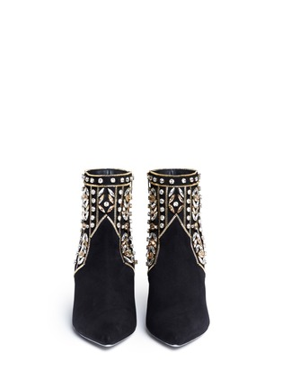 Figure View - Click To Enlarge - René Caovilla - Strass appliqué zip teeth suede ankle boots