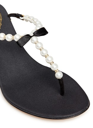 Detail View - Click To Enlarge - René Caovilla - Faux pearl crystal T-strap sandals