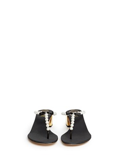 RENÉ CAOVILLAFaux pearl crystal T-strap sandals
