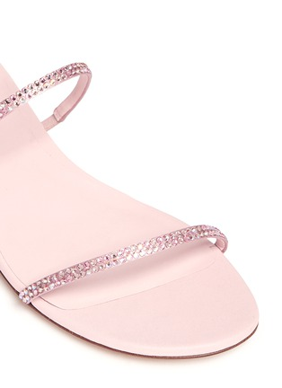 Detail View - Click To Enlarge - René Caovilla - 'Snake' strass pavé spring coil anklet leather sandals
