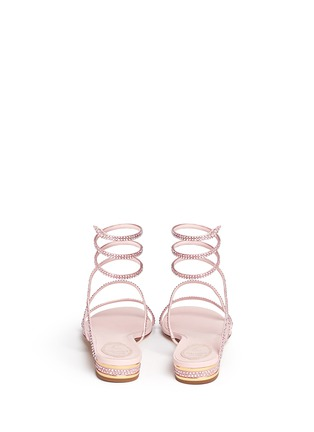 Back View - Click To Enlarge - René Caovilla - 'Snake' strass pavé spring coil anklet leather sandals