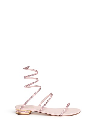 Main View - Click To Enlarge - René Caovilla - 'Snake' strass pavé spring coil anklet leather sandals