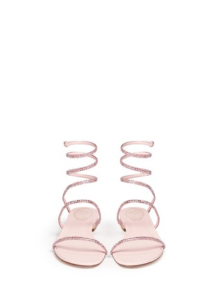 Figure View - Click To Enlarge - René Caovilla - 'Snake' strass pavé spring coil anklet leather sandals
