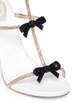 Strass pavé bow satin leather sandals