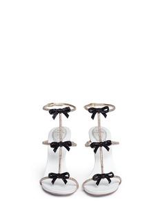 RENÉ CAOVILLAStrass pavé bow satin leather sandals