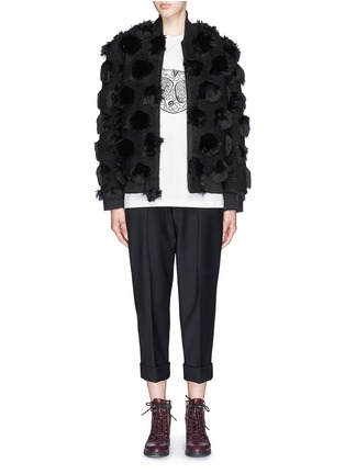 Figure View - Click To Enlarge - NICOPANDA - Faux fur polka dot bomber jacket