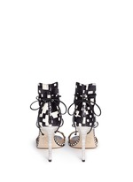 Snakeskin leather ankle wrap sandals