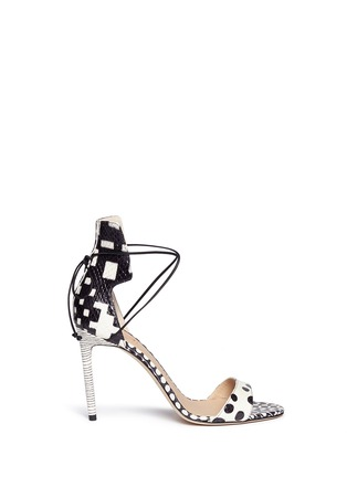 Main View - Click To Enlarge - REED KRAKOFF - Snakeskin leather ankle wrap sandals