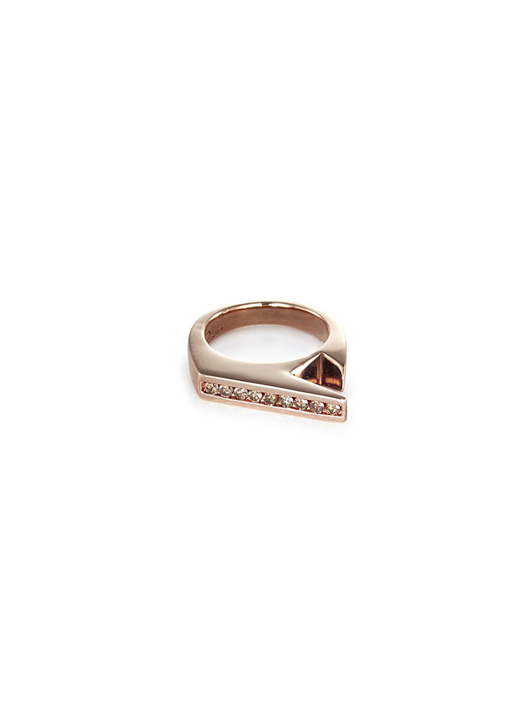 LYNN BAN 'Stackable Jagged Knuckle B' rose gold silver ring