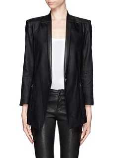 HELMUT LANG Linen and leather trim tuxedo blazer