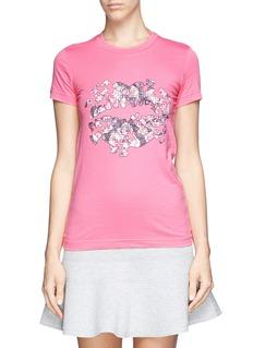 MARKUS LUPFERRose jigsaw smacker lip print T-shirt
