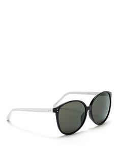 LINDA FARROWSnakeskin temple slim cat-eye sunglasses