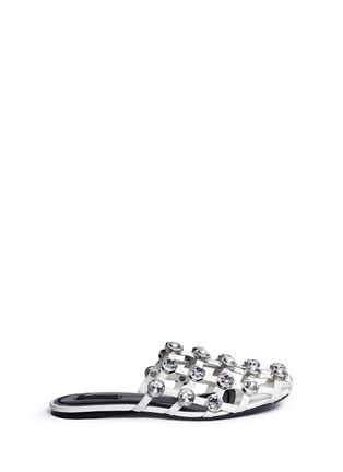 Alexander Wang  - 'Amelia' glass crystal caged leather slide sandals