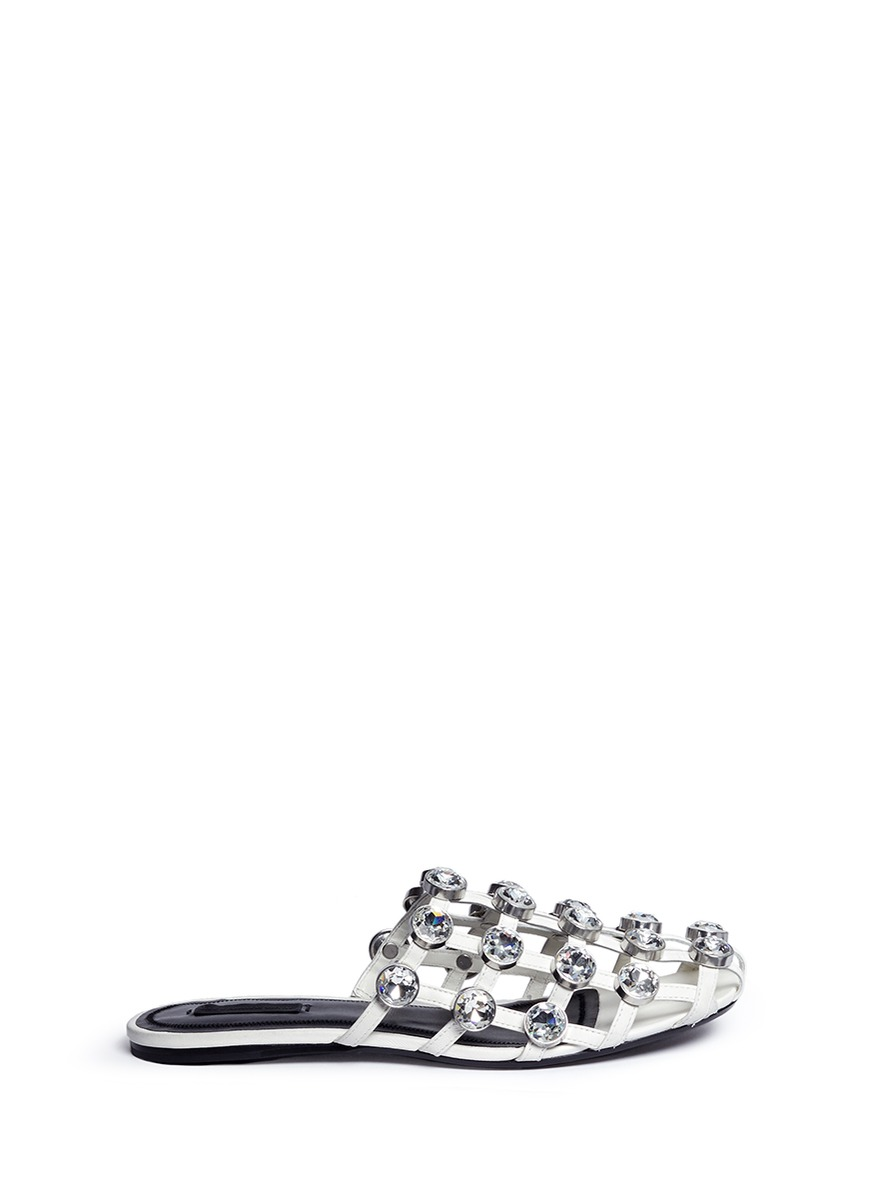 Amelia glass crystal caged leather slide sandals by Alexander Wang