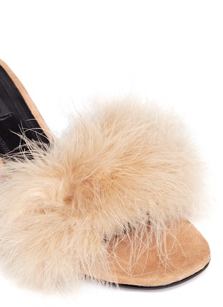 Detail View - Click To Enlarge - Alexander Wang  - 'Lou' Marabou feather cutout heel suede sandals