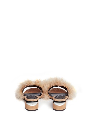 Back View - Click To Enlarge - Alexander Wang  - 'Lou' Marabou feather cutout heel suede sandals