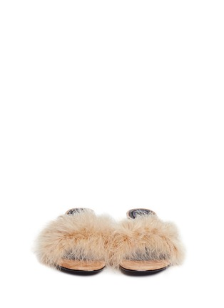 Front View - Click To Enlarge - Alexander Wang  - 'Lou' Marabou feather cutout heel suede sandals