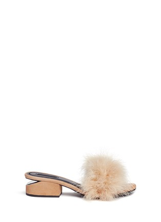 Main View - Click To Enlarge - Alexander Wang  - 'Lou' Marabou feather cutout heel suede sandals