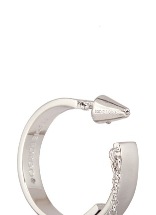 Detail View - Click To Enlarge - Eddie Borgo - 'Thin Safety Chain' hoop earrings