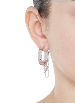 Figure View - Click To Enlarge - Eddie Borgo - 'Thin Safety Chain' hoop earrings