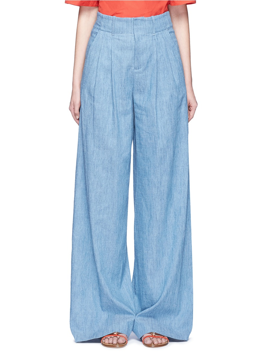 Eloise chambray wide leg pants by alice + olivia